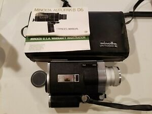 Vintage Minolta SUPER 8 AUTOPAK-8 D6 8mm Movie Camera w/ Case & Manual! Untested