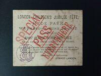 Original 1887 Queen Victoria Jubilee Celebration ticket - London June 22nd 1887