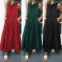 ZANZEA Womens Vintage Sleeveless Tunic Swing Pleated Flared Dress Kaftan Plus
