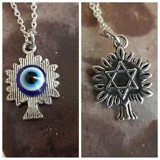 2 Sided Jewish Star of David Tree of Life Evil Eye Silver Necklace Protection