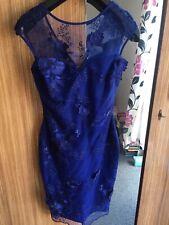 WOMENS LIPSY LONDON COCKTAIL DRESS 6 ROYAL BLUE FLORAL/LACE DESIGN BNWT