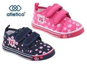 KIDS BABY Girls canvas shoes trainers sneakers 3.5-7 UK Leather insole PUMPS