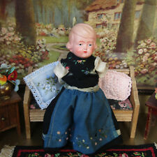 Antique CELLULOID GIRL DOLL Vtg Costume GERMAN Jointed Dollhouse 1920s 20s 30s