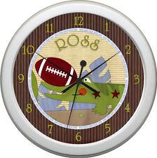 Personalized Team Safari bedding  Football Nursery  Wall Clock