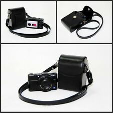 Black or white leather camera case bag for Sony DSC- HX90V WX500 Panasonic TZ110