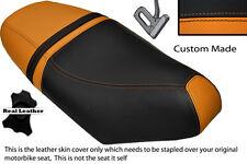 Negro Y Naranja Custom encaja Piaggio Nrg 50 Mc3 doble de piel cubierta de asiento solamente