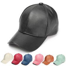 Men's Women's Leather Baseball Cap Unisex Snapback Outdoor Sport Adjustable Hat