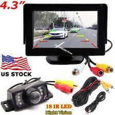 """Car Parking Rear View Kit IR Night Vision Backup Camera +4.3"""" Color LCD Monitor"""