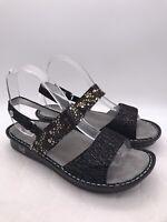 Alegria Sandals VER-780 Women Shoes Size 38 US Sz 8 Black Gold Strap Strappy