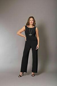 Jumpsuit Black 16 straight leg David Emanuel Body Wrap wedding edgy A1