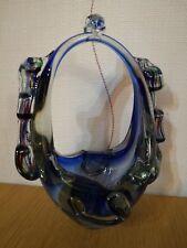 ART GLASS VASE HOLDER BLUE DECOR ORNAMENT COLLECTIBLES VINTAGE NEW