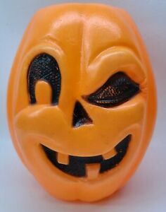 Vtg. WINKING Pumpkin Jack O Lantern Halloween Blow Mold Candy Treat Pail Bucket