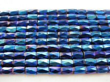 50Pcs Blue Natural Magnetic Hematite Gemstone Faceted Tube Beads Metallic 5x8mm