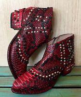 NIB  Free People red black Snakeskin Print Western Jewel Ankle Boots 38/ 7.5 -8