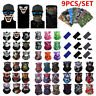 9 PACK Face bike Sun Shields Neck Gaiter Balaclava Neckerchief Bandana Headband