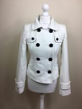 Ladies Women's White Pea Coat Jacket Size 10 Jane Norman Detachable Hood