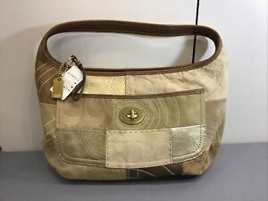 COACH Patchwork Gold Brown Multi Color Shoulder Bag Zip Tote Bag