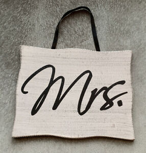 """"""" Mrs """" Wood Wedding Sign Reception Decoration White with Black Letters Wife"""
