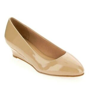 Womens Extra Wide Fit Shoes Size 8 Beige Court Low Heel Wedges Wedding Bridal