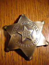 Chief Brothel Inspector 69 SOLID BRASS w/Antique Finish OLD WEST BADGE PIN 130