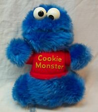 "Hasbro Sesame Street VINTAGE COOKIE MONSTER 7"" Plush STUFFED ANIMAL Toy"