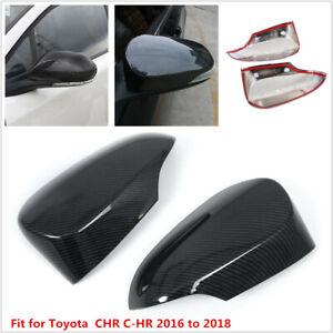 Cubierta del espejo lateral 1 par de estilo de fibra de carbono Vista posterior Cubierta del espejo lateral Ajuste de ajuste para CHR