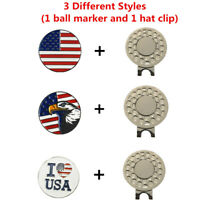 Magnetic Hat Clip Golf Ball Markers American Flag Eagle  I Love USA Fast Shiping