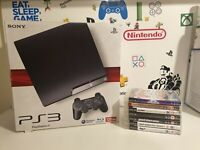 PlayStation 3 PS3 Slim Console 120GB Boxed + 1 Controller & 7 Games