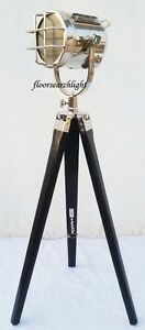 DESIGNER TRIPOD CHROME FLOOR LAMP NAUTICAL SPOT SEARCHLIGHT HOME DECOR LIGHT