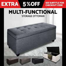 Leather Living Room Grey Ottomans, Footstools & Poufs