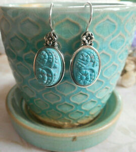 Barse Oxidized Sterling Silver Carved Floral Turquoise Drop Earrings   M28-C