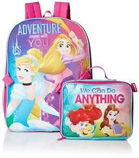 Disney Princess Girls Pink School Backpack Lunch Box Book Bag Ariel Cinderella