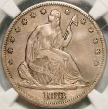 1873 CC NO ARROWS LIBERTY SEATED SILV HALF DOLLAR EXTREMELY RARE NGC XF 45 DETLS