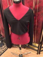 Express Crop Top Long Sleeve Shirt Side Cut Out Medium Black