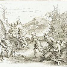 Incisione Scena Biblica Iacobus Colemans XVIII secolo