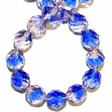 CZ595 Blue & Pink 10mm Fire-Polished Faceted Round Czech Preciosa Glass Bead 16""