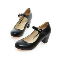 New Women Mary Jane Dance Party Block Mid Heels Pumps Plus Size Leather Black