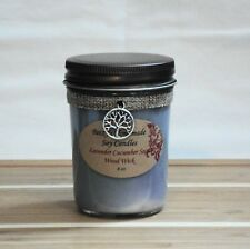 8 oz. Lavender Cucumber Sage Natural Soy Wax Wood Wick Green/Purple Candle