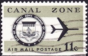 Canal Zone - 1971 - 11 Cents Olive & Black Canal Zone Seal & Plane # C49 # C49a