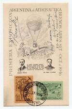 ARGENTINA ARGENTINIEN ARGENTINE 1° BALOON FLIGHT CROSSING ANDES SIGNED BY PILOTS