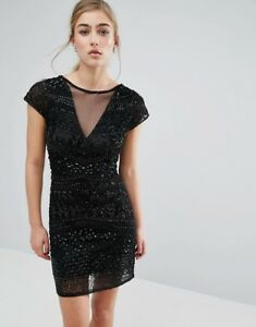 Miss Selfridge Geo Beaded Bodycon Dress Black Uk 12 RRP £110