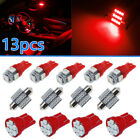 13pcs Red Car Interior Led Light Bulbs For Dome License Plate Lamp Kit Parts