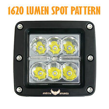 18W Led Work/Driving Light 8 deg Spot Beam-Square-Connector Included & Installed