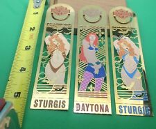 Harley Davidson  BRASS BOOK-MARKERS  5 INCH PIN UP GIRL BIKER BABE  quantity = 3