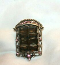 Vintage Beveled Gray and Pink Rhinestone Silver Tone Pin Brooch Pendant