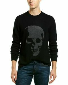 NEW Autumn Cashmere Men's Birdseye Skull Jacquard Sweater Black/Grey L, XL $385
