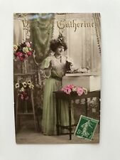 Beautiful Lady French Fashion Original Vintage Postcard