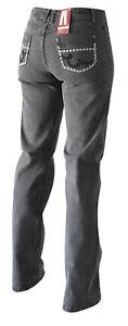 Damen Jeans in grau mit Taschenstickerei Modell Karla von Jet-Line Stretch Hose