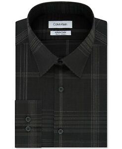 Calvin Klein Mens Infinite Slim-Fit Stretch Check Dress Shirt Black 15 32/33 $95