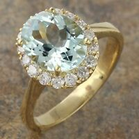 2.75Ct Natural Aquamarine and Diamond 14K Solid Yellow Gold Ring